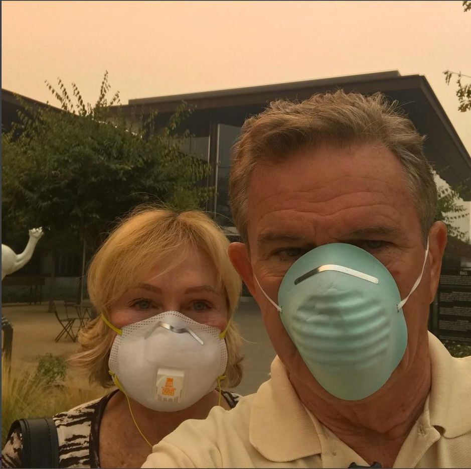 Selfie of Kathryn and Craig Hall at their winery in St. Helena, Calif. on Wednesday, Oct. 11.