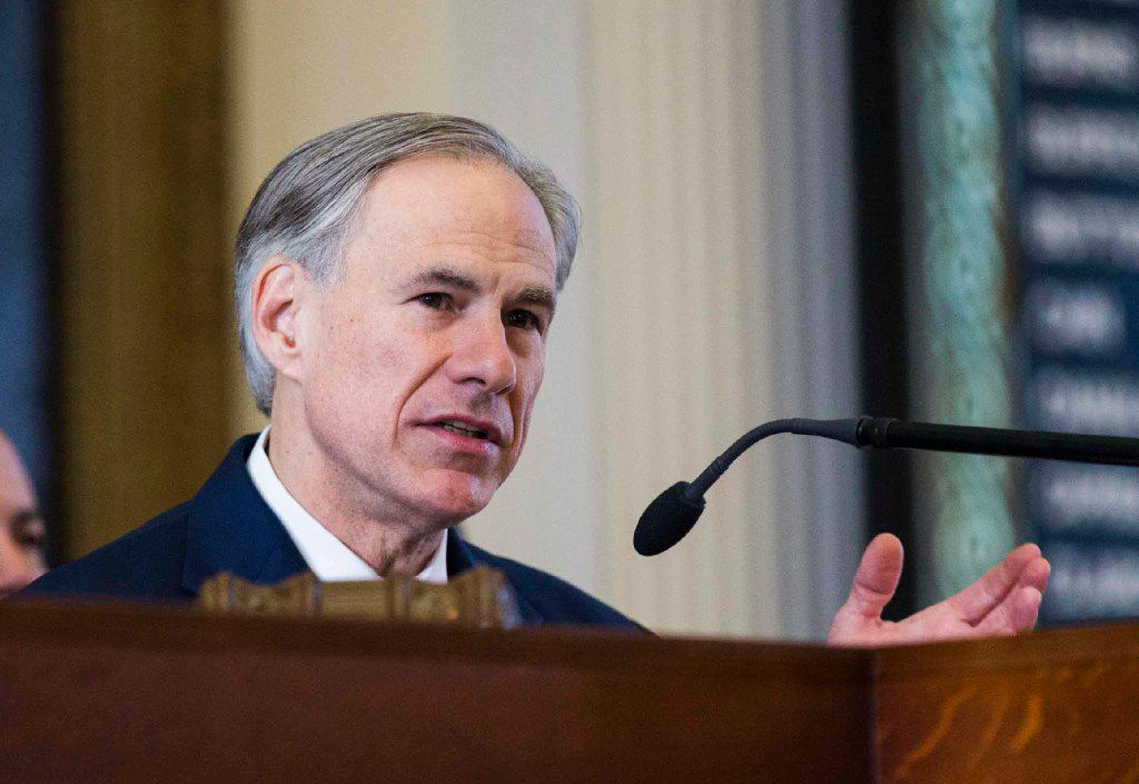 Texas Governor Greg Abbott speaks during the first day of the 85th Texas Legislative Session on Tuesday, January 10, 2017 at the Texas State Capitol in Austin, Texas. (Ashley Landis/The Dallas Morning News)