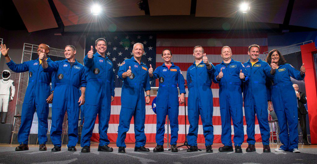 Johnson Space Center was where NASA introduced on Aug. 3 the first U.S. astronauts who will fly on American-made, commercial spacecraft to and from the International Space Station. They are (from left) Victor Glover, Mike Hopkins, Bob Behnken, Doug Hurley, Nicole Aunapu Mann, Chris Ferguson, Eric Boe, Josh Cassada, and Suni Williamson