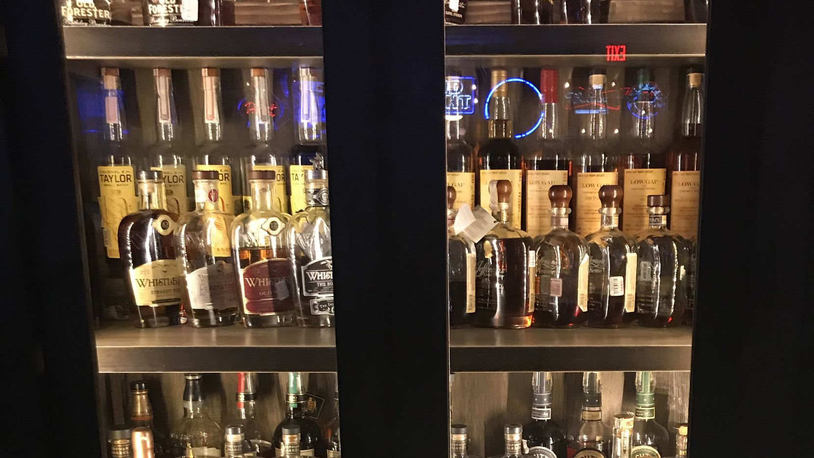 You like whiskey? Knox Street Pub has a giant case on the wall -- this is only part of it -- with spirits of all price points.