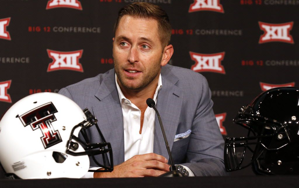 Texas Tech head football coach Kliff Kingsbury answers questions from the news media during the Big 12 Conference Football Media Days on Monday, July 20, 2015 at the Omni Dallas Hotel. (David Woo/The Dallas