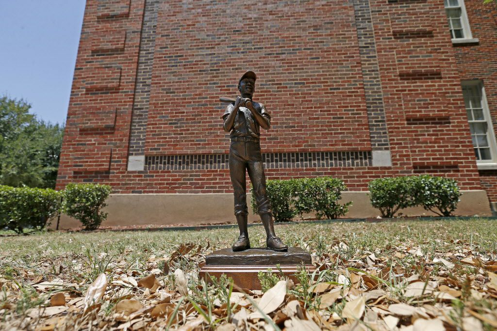 A maquette of the statue of Ernie Banks by artist Emmanuel Gillespie is photographed in an area where the 6-foot-tall sculpture will be placed at Booker T. Washington High School in Dallas.