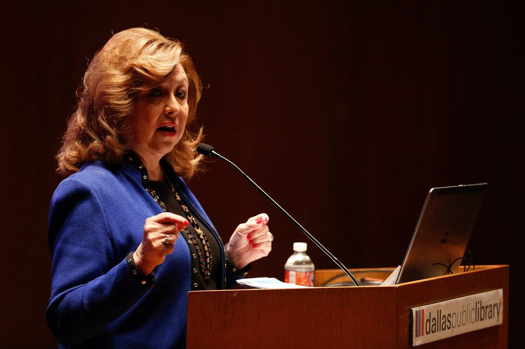 Regina Montoya discusses the Mayor's Task Force on Poverty on Tuesday, Nov. 27, 2018 at the J. Erik Jonsson Central Library in Dallas. (Ryan Michalesko/The Dallas Morning News)