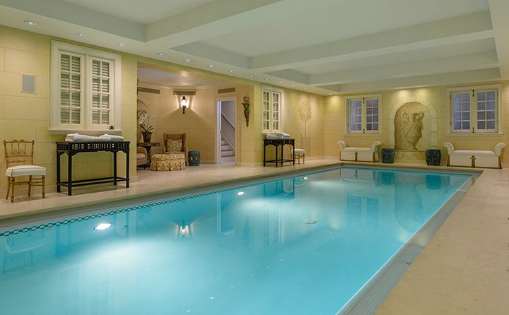The estate has both indoor and outdoor pools.