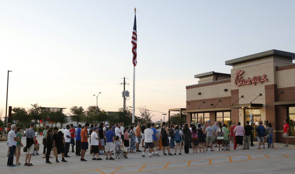 Customers routinely wait 24 hours outside new Chick-fil-A openings for a chance to win a free meal per week for a year.