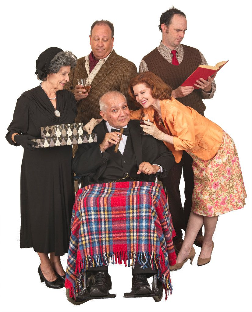 From left: Allyn Carrell, Brian Hoffman, Jackie L Kemp, Mary-Margaret Pyeatt and Michael Speck star in the American premiere of Paul Baker's  Winston's Birthday,  presented by Theatre Britain at Cox Playhouse in Plano.
