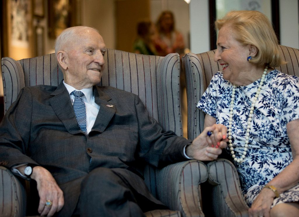 Ross Perot photographed on his 89th birthday in his office in Dallas with his wife, Margot, on June 27, 2019.