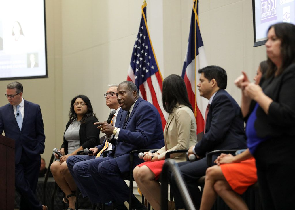 Royce West speaks during a Democratic Senate candidate debate at the Collin College Preston Ridge Campus in Frisco, TX, on Sep. 5, 2019. Shown (seated from left), are Sema Hernandez, former U.S. Rep. Chris Bell, State Sen. Royce West, Houston Council member Amanda Edwards, and Adrian Ocegueda.  The candidates are vying to lead the race to unseat Republican Sen. John Cornyn of Texas. One of the contest's leading contenders, former Air force helicopter pilot and businesswoman MJ Hegar, did not attend the forum.