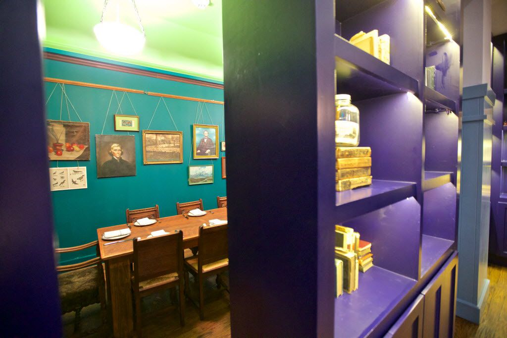 A private dining room, hidden behind a sliding book case, at the Theodore