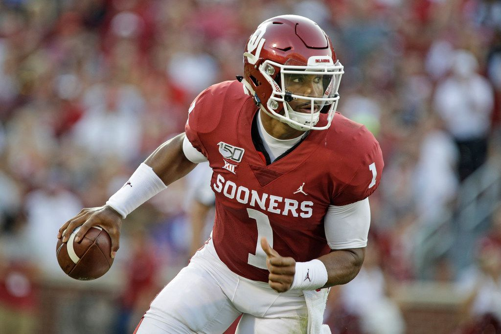 NORMAN, OK - SEPTEMBER 07: Quarterback Jalen Hurts #1 of the Oklahoma Sooners scrambles against the South Dakota Coyotes at Gaylord Family Oklahoma Memorial Stadium on September 7, 2019 in Norman, Oklahoma. The Sooners defeated the Coyotes 70-14. (Photo by Brett Deering/Getty Images)