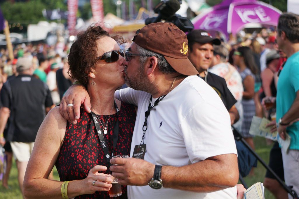 Cheryl Lovelace and Roman Zepeta enjoy each other and the Untapped Music & Beer Festival at Panther Island in Fort Worth, Texas on Saturday, June 11, 2016. Brewers and bands from all over the country participated.