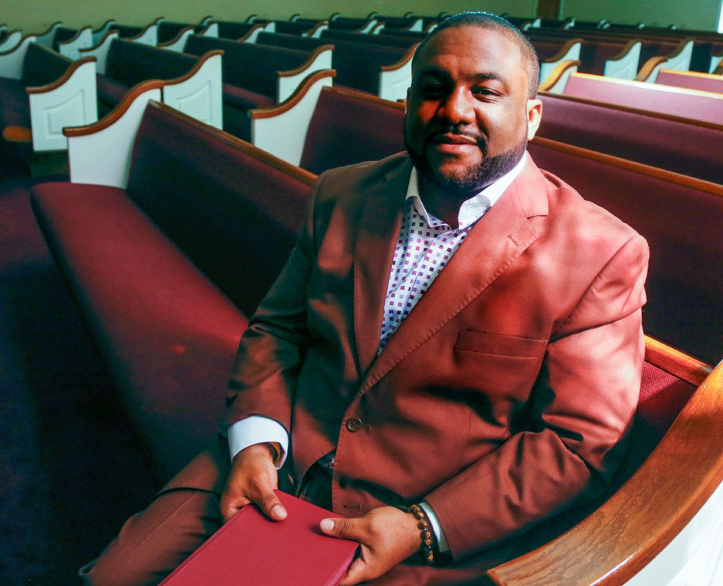 Senior minister Jonathan Morrison, with the Cedar Crest Church of Christ in east Oak Cliff, in his church's sanctuary.