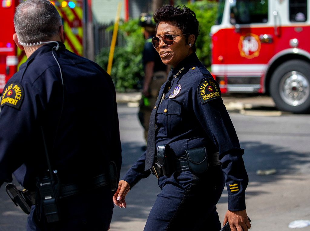 Dallas Police Chief U. Renee Hall at the scene of a crane collapse at the Elan City Lights apartments June 9. Severe storms caused the collapse that day that left a woman dead and several injured at the complex.