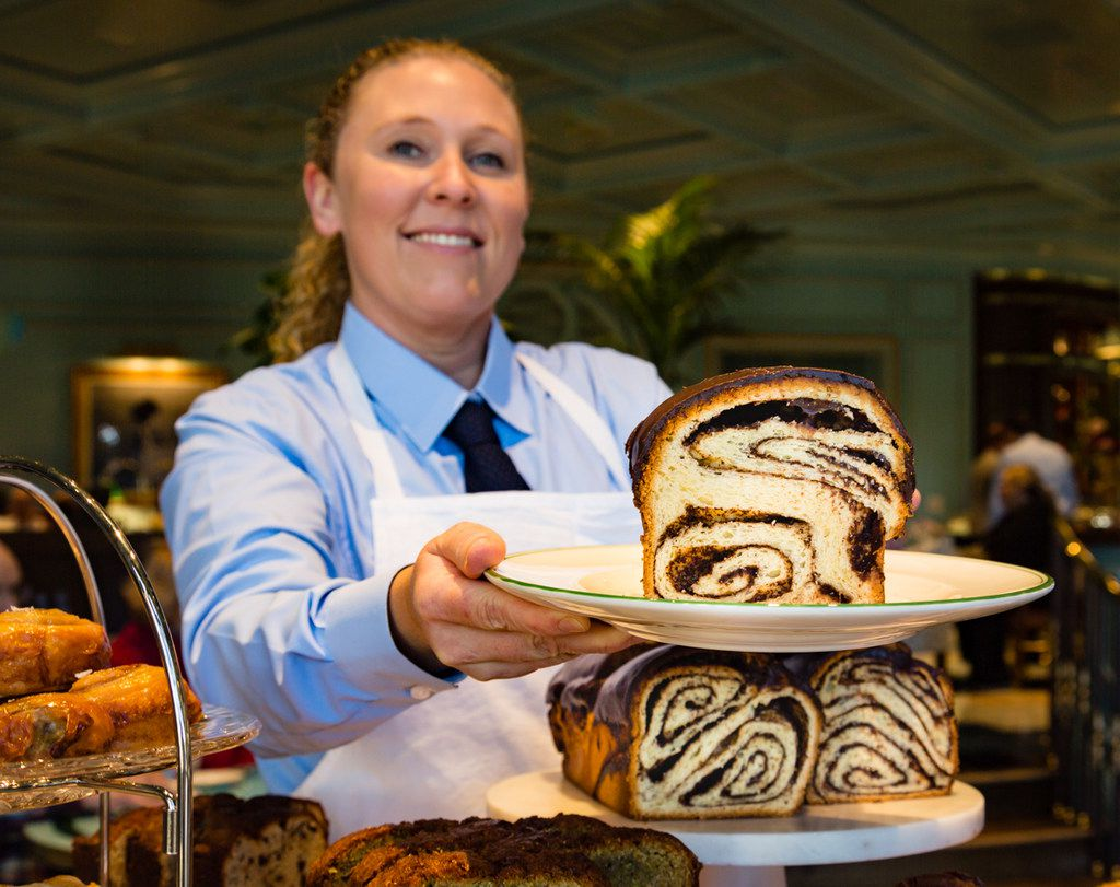 The chocolate babka is one of several irresistible treats offered from the pastry cart at Sadelle's.