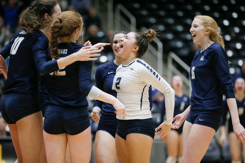 Flower Mound junior Sarah Martinez (2) celebrates a point with her teammates during a Class 6A state semifinal volleyball game against O'Connor at the Curtis Culwell Center in Garland, Friday, November 16, 2018. Flower Mound won in four sets to advance to the state finals. (Brandon Wade/Special Contributor)