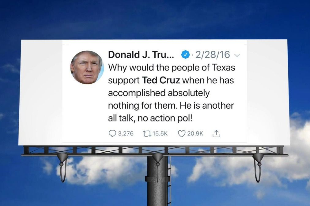 """Houston community organizer Antonio Arellano and David Hogg, a former Marjory Stoneman Douglas High School student turned anti-gun activist, have raised nearly $10,000 to fund a mobile billboard during President Donald J. Trump's visit to Texas to stump for Sen. Ted Cruz. A mockup of the billboard features a 2016 tweet from Trump calling Cruz an """"all talk, no action pol."""""""