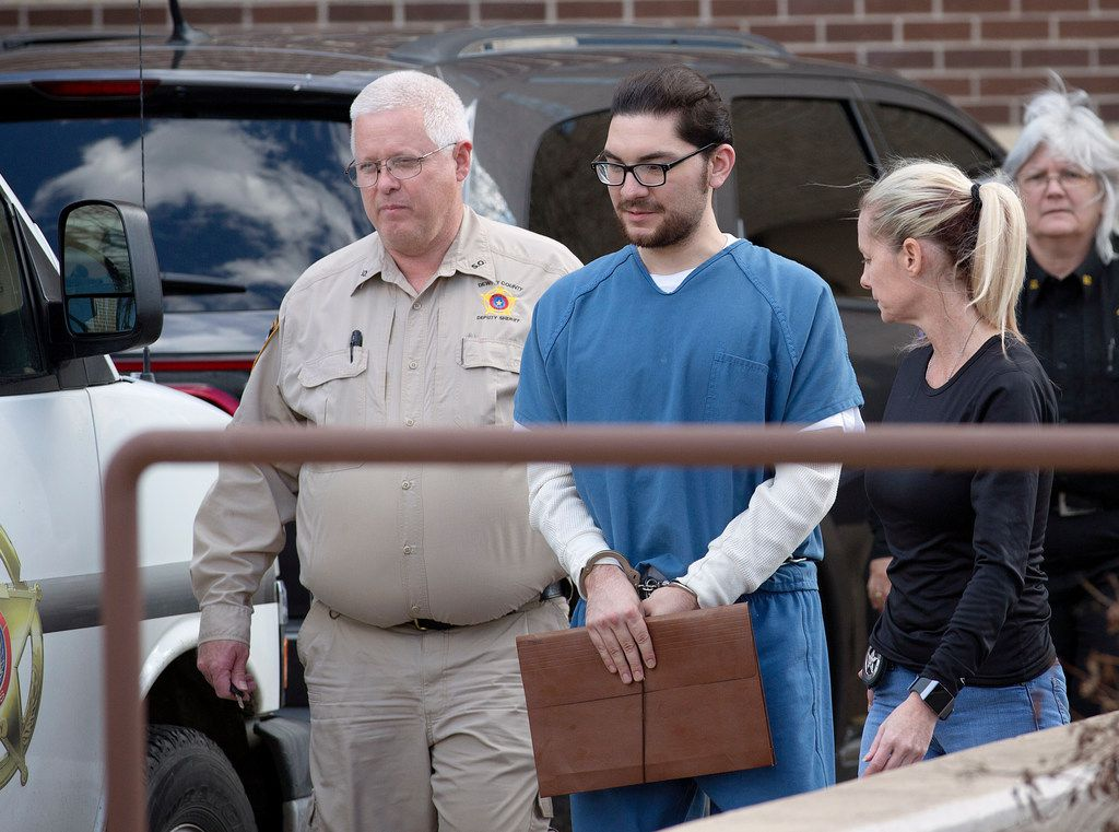 """Marq Vincent Perez was escorted from the federal courthouse in Victoria in January 2018 after a pretrial hearing in the torching of a mosque in 2017. Prosecutors say Perez made plans to create a """"rogue unit"""" to monitor and possibly confront Muslims at the Islamic center. Monday, he was convicted of federal arson and explosives charges and of a hate crime charge."""