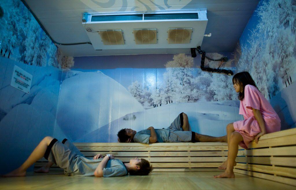 The ice room looks a bit like an igloo and feels like a walk-in restaurant freezer.