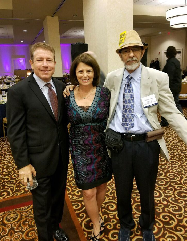 Jeffrey Weiss (right), who was being honored with a Lifetime Achievement Award from the Religion News Association, celebrated with his brother Dale and Dale's wife Alison, on Sept. 9, 2017, in Nashville, Tenn.