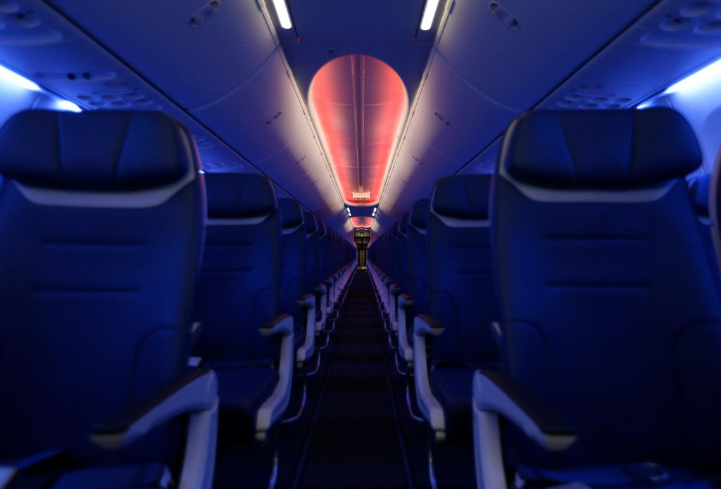 Seats inside Southwest Airlines' new plane, the 737 Max, at headquarters in Dallas, Tuesday, Sept. 12, 2017. (Jae S. Lee/The Dallas Morning News)