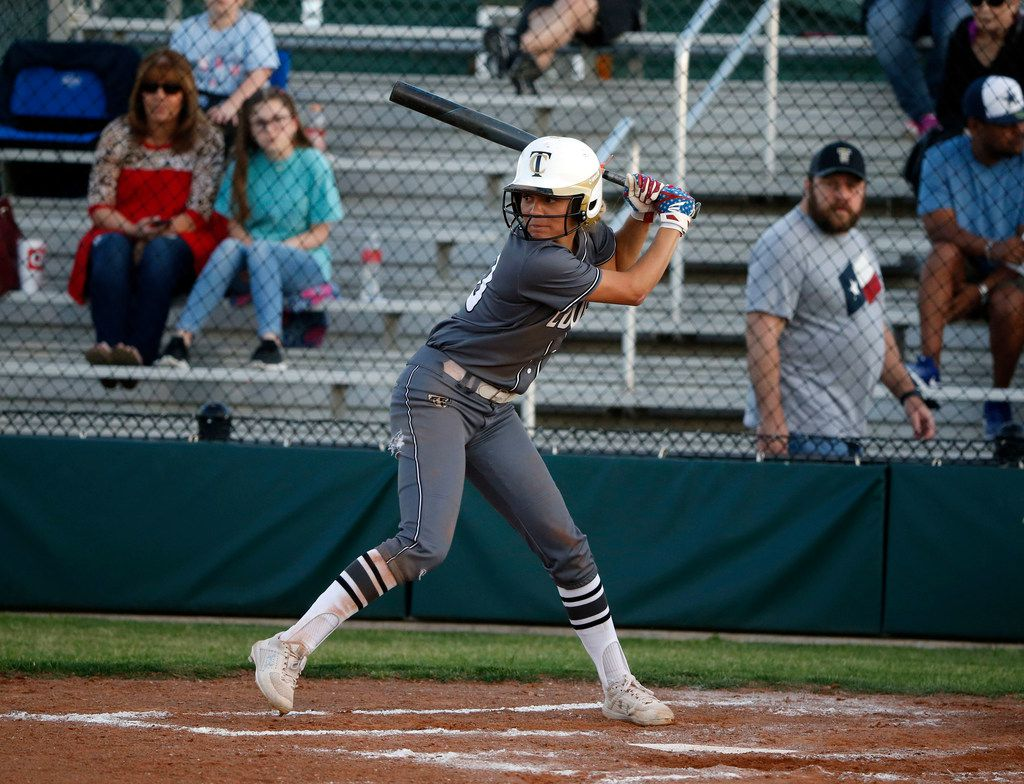 The Colony's Jayda Coleman bats against Birdville during Game 2 of the Class 5A  bi-District playoffs on April 26, 2019. (Michael Ainsworth/Special Contributor)