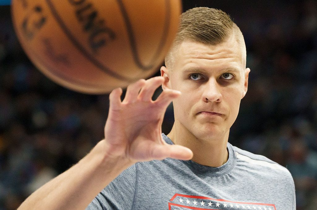 Dallas Mavericks forward Kristaps Porzingis warms up before an NBA basketball game against the New York Knicks at American Airlines Center on Friday, Nov. 8, 2019, in Dallas. (Smiley N. Pool/The Dallas Morning News)
