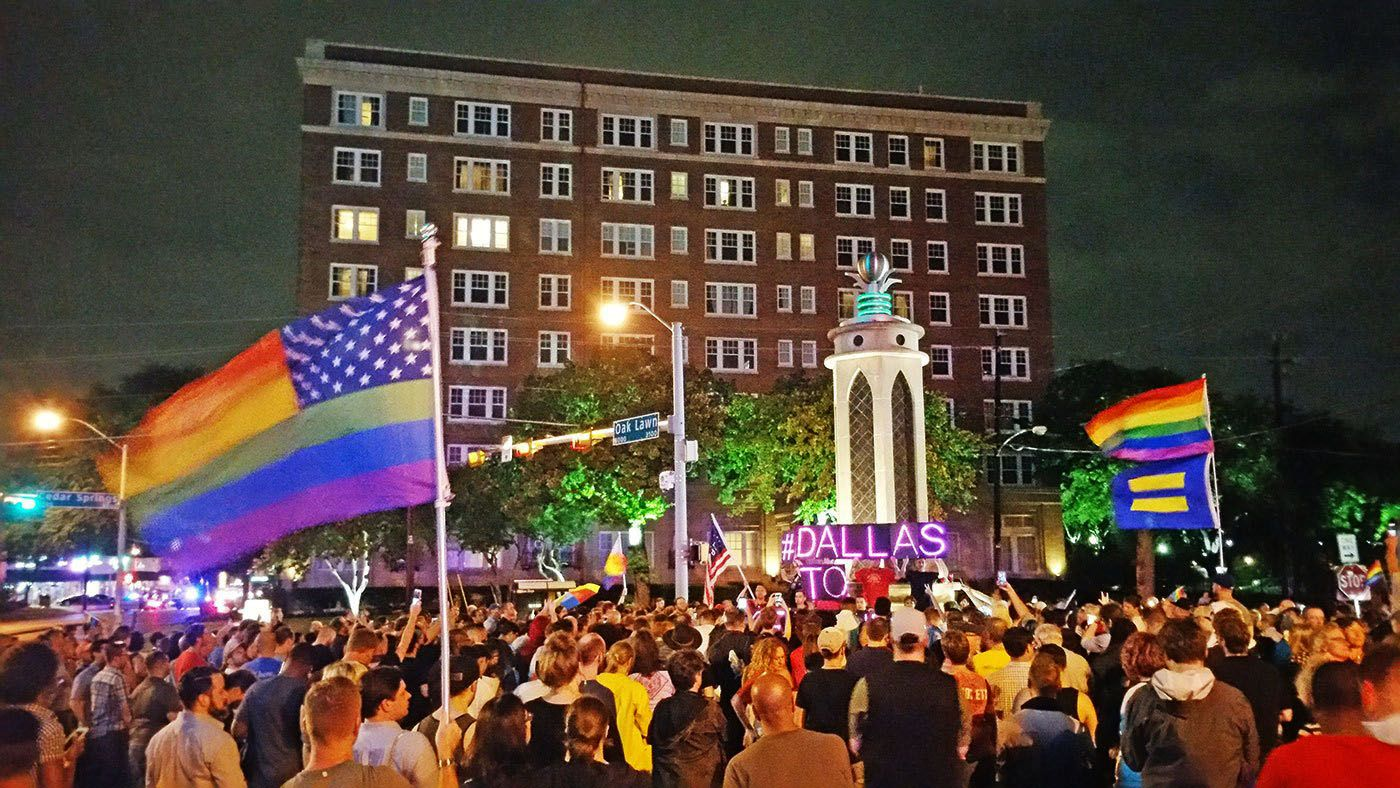 North Texas' LGBT community rallies in front of the Legacy of Love Monument in Oak Lawn, Dallas, on June 13, 2016. The rally was held to protest a mass shooting at Pulse Night Club in Orlando, Florida, the previous day.