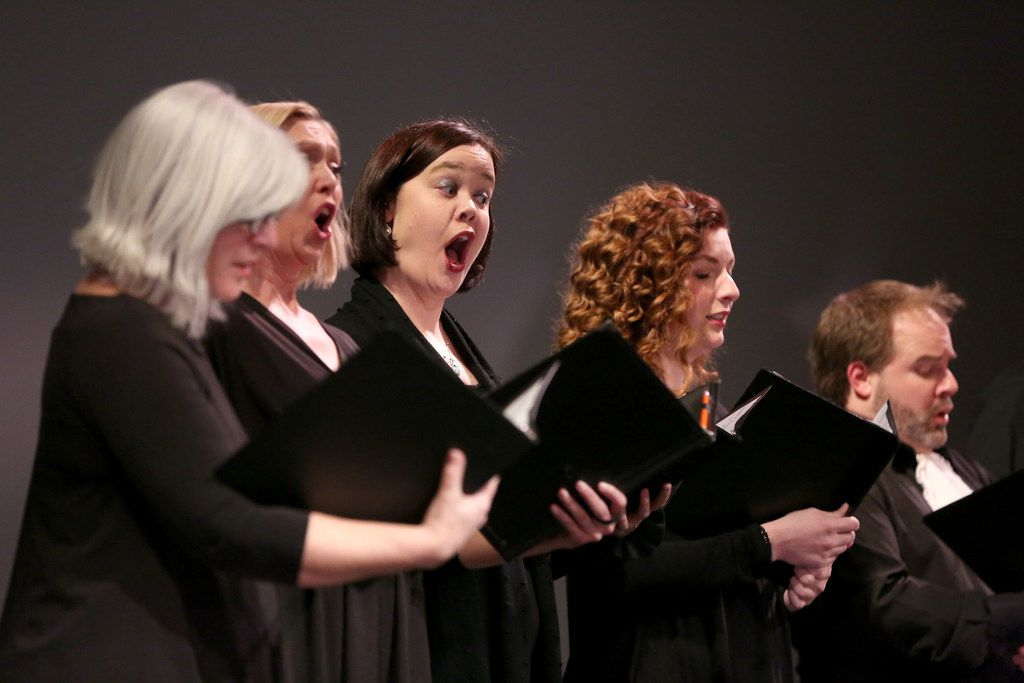 Chorus singers perform during a rehearsal for the Orchestra of New Spain's opera Achilles in Skyros at Moody Performance Hall on Wednesday, Feb. 7, 2018.