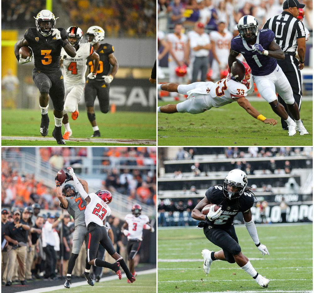Clockwise from top left: Arizona State running back Eno Benjamin, TCU wide receiver Jalen Reagor, Colorado wide receiver Laviska Shenault and Oklahoma State wide receiver Tylan Wallace.