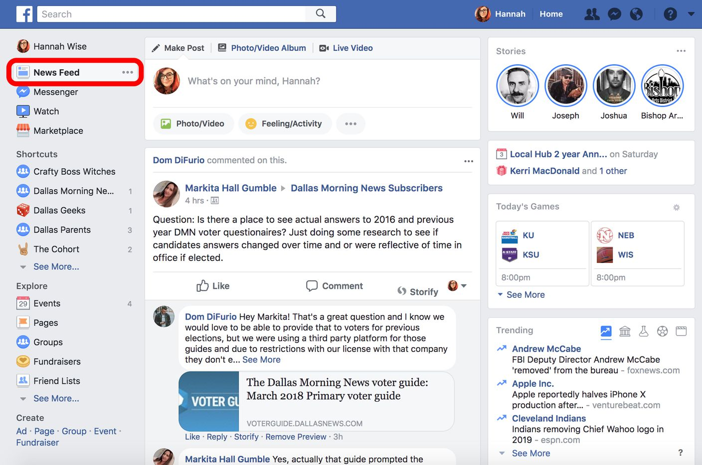 Log into Facebook. In the left-hand column of your home screen, look for 'news feed' at the top of the list and click the three dots beside it.