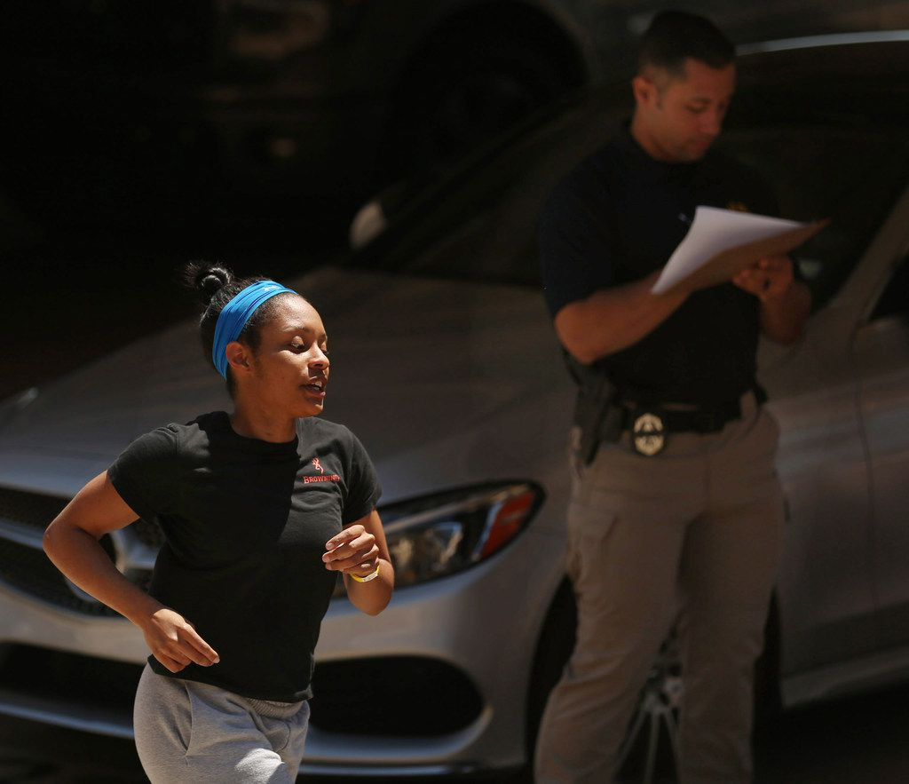 Amanda Martin put her U.S. Coast Guard training to the test in her tryout Thursday for the Dallas police force.