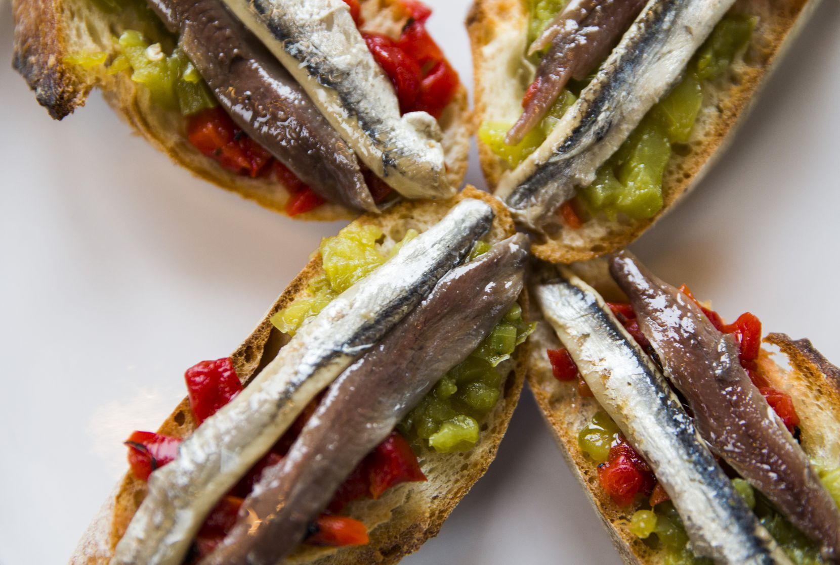 """""""Matrimonio,"""" or dark and white anchovies on toast, at Sketches of Spain"""