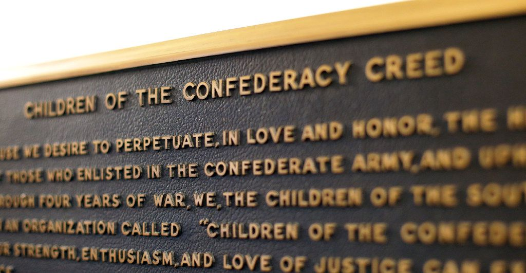 In this Aug. 21, 2017, photo, a Confederate plaque is displayed near the Rotunda in the Texas State Capitol in Austin.