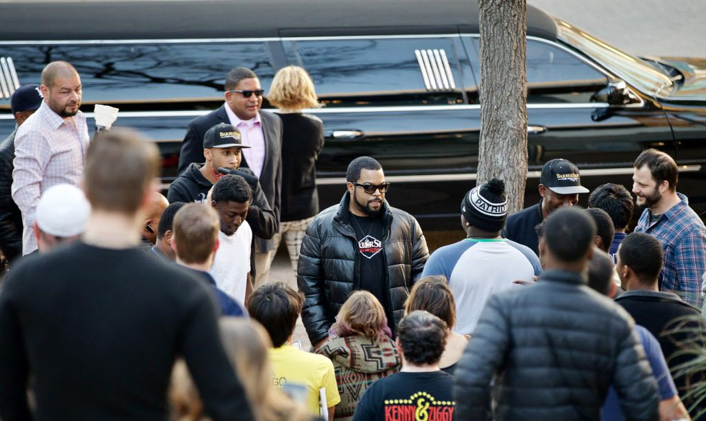 """O'Shea Jackson, known by his stage name Ice Cube, greets fans before a screening of """"Barbershop, The Next Cut"""" at the Angelika Monday, March 21, 2016. (Brandon Wade/Special Contributor)"""