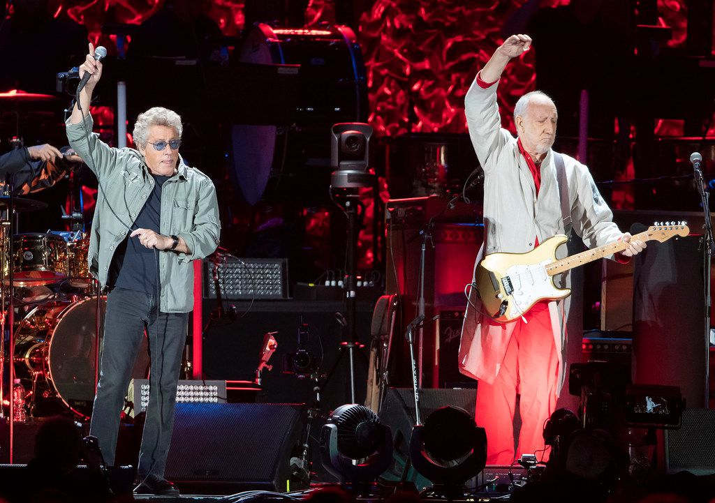 Roger Daltrey, left, and Pete Townshend of The Who perform at Fenway Park on Friday, Sept. 13, 2019, in Boston.