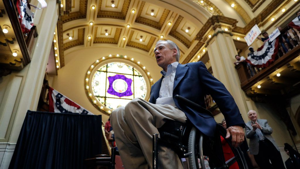 Texas Gov. Greg Abbott addresses supporters at an event where he announced his bid for re-election, Friday, July 14, 2017, in San Antonio. (AP Photo/Eric Gay)