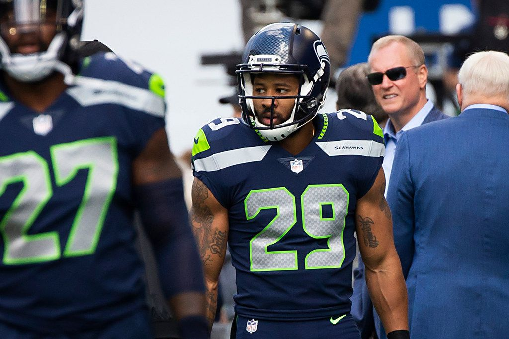 FILE - Seattle Seahawks defensive back Earl Thomas (29) warms up in front of Dallas Cowboys owner Jerry Jones and the rest of the ownership team before an NFL football game at CenturyLink Field on Sunday, Sept. 23, 2018, in Seattle. (Smiley N. Pool/The Dallas Morning News)