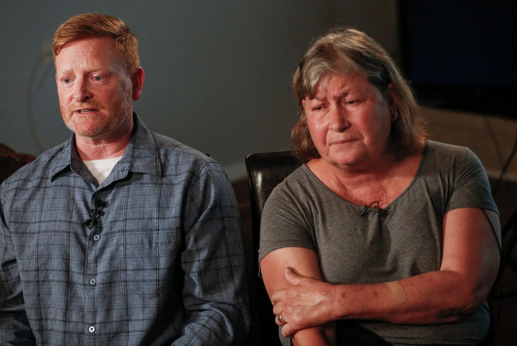 Paul Clyde, left, along with his ex-wife Nubia Brede Solis during an interview with The Dallas Morning News on Wednesday, June 19, 2019, in Plano, Texas.  Brian Clyde, 22, opened fire on the Earle Cabell Federal Building and was shot by officers and died in a downtown Dallas parking lot. (Ryan Michalesko/The Dallas Morning News)