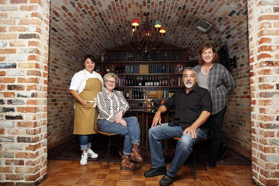 Cedars Social staff includes chef Anastacia Quinones, left, bartender Leann Berry, Frankie Jimenez, and owner Monica Greene.