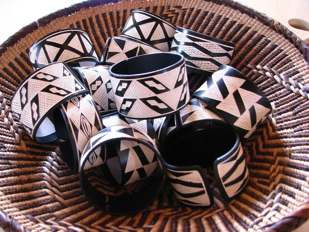 Bracelets made of pvc pipe, from Namibia, an example of the folk art crafts at the International Folk Art Market in Santa Fe