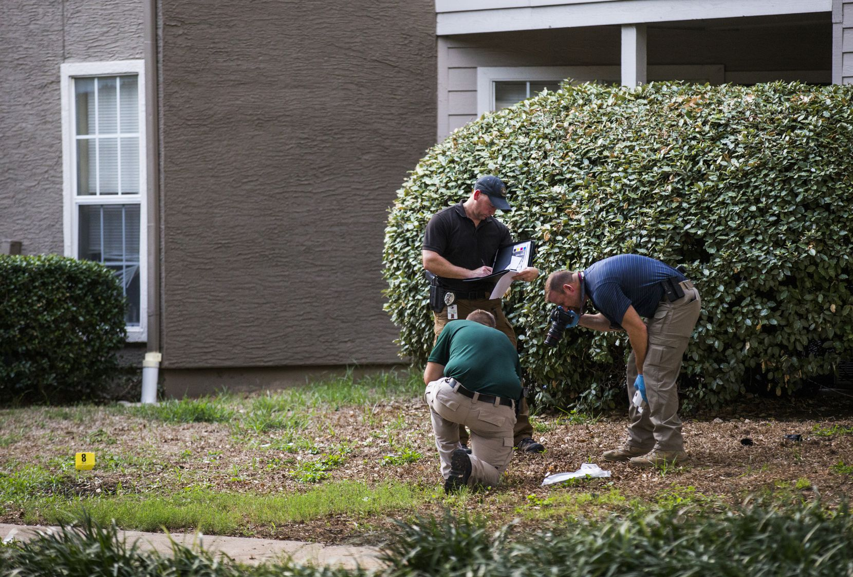 Lewisville police officers investigate a scene where a man fatally stabbed a toddler on Sunday. The man was then shot in the leg by a neighbor, ending the assault.