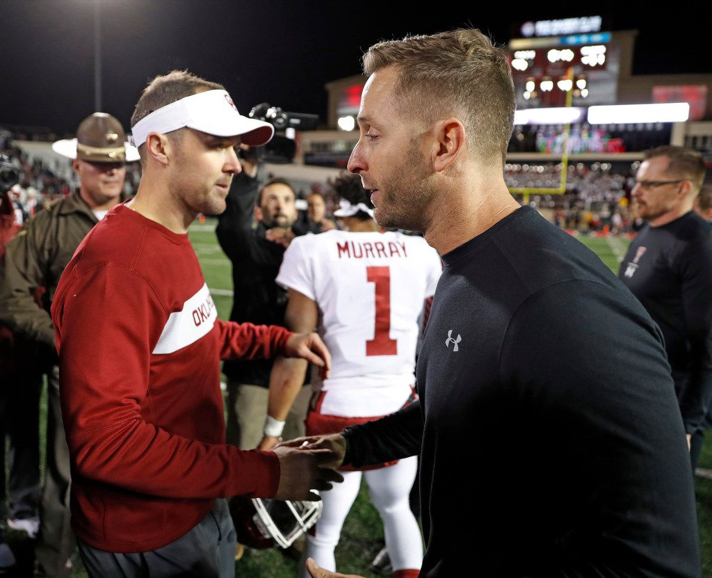 Oklahoma coach Lincoln Riley, left, shakes hands with Texas Tech coach Kliff Kingsbury after an NCAA college football game Saturday, Nov. 3, 2018, in Lubbock, Texas. (AP Photo/Brad Tollefson)