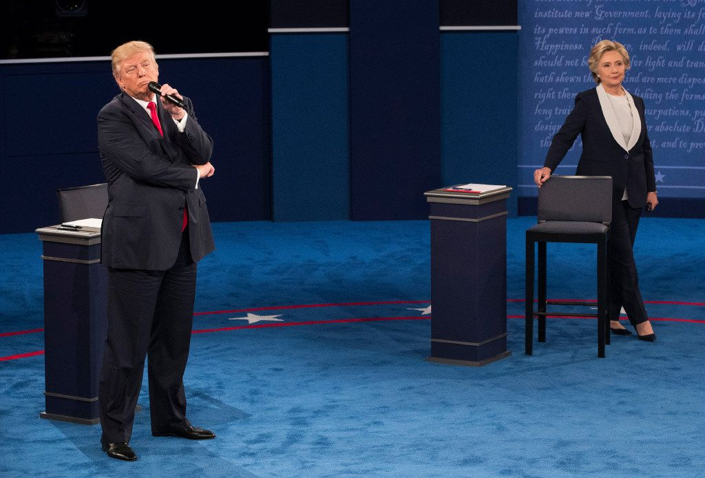 Hillary Clinton and Donald Trump during their second presidential debate, at Washington University in St. Louis, Oct. 9, 2016. (Doug Mills/The New York Times)