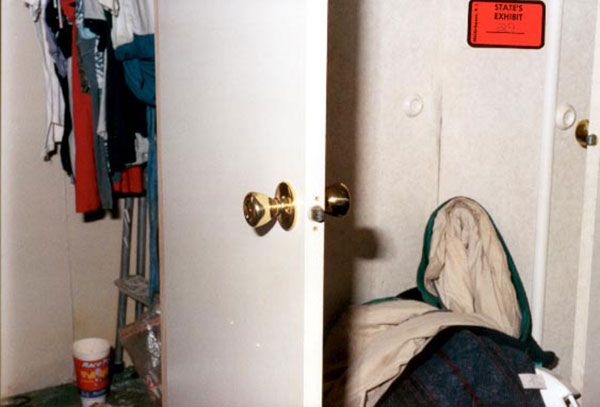 The door to the closet, shown in a law enforcement photo.