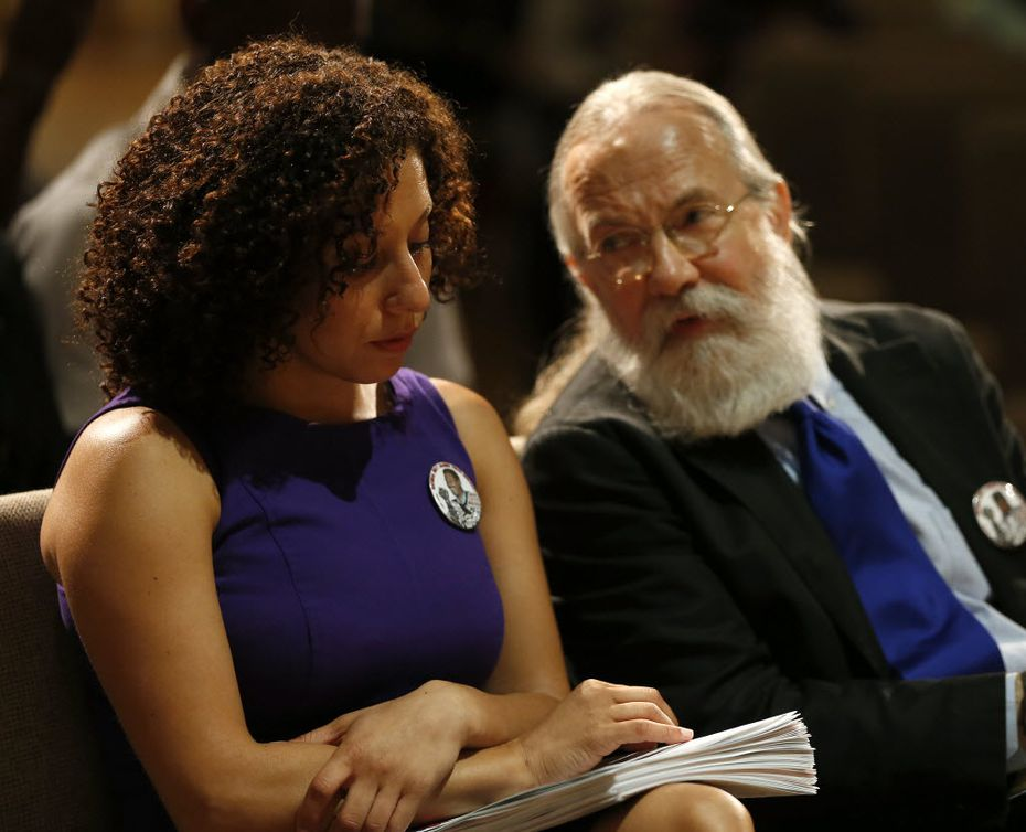 Sara Mokuria (left) and John Fullinwider, co-founders of Mothers Against Police Brutality, were guest speakers at Concord Baptist Church in Dallas in July 2016, a week after five Dallas officers were gunned down after a protest against police brutality.