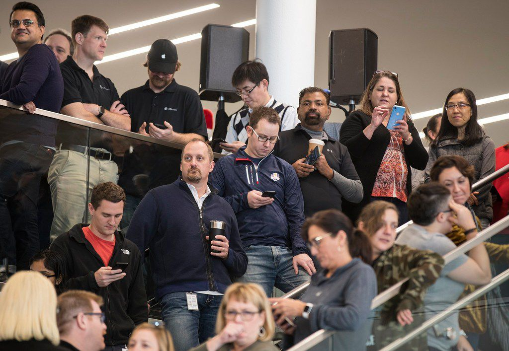 Apple employees attended an event about Apple's new campus announcement in Austin in December.