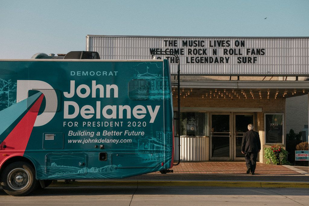 Presidential candidate John Delaney's campaign RV outside the Surf Ballroom and Museum, site of the Iowa Democratic Wing Ding in Clear Lake on  Aug. 10, 2018.