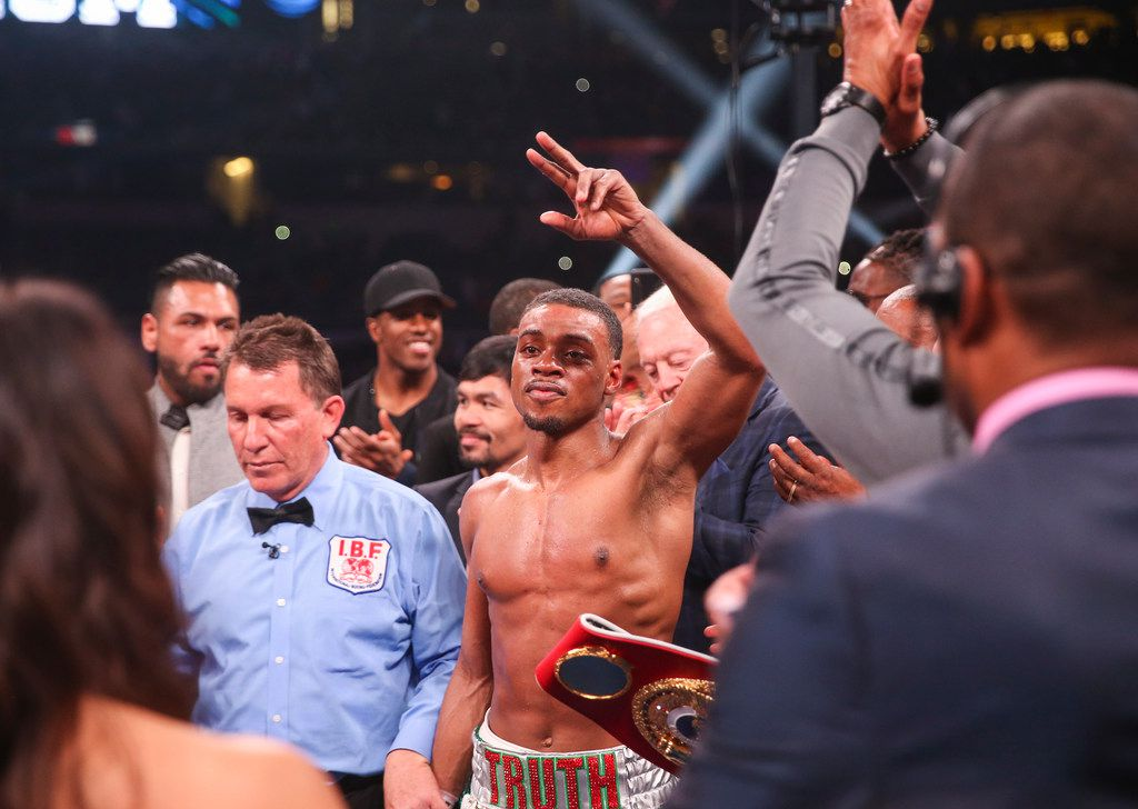Errol Spence Jr. is declared winner over Mikey Garcia by way of rounds following a IBF World Welterweight Championship match on March 16, 2019 at AT&T Stadium in Arlington, Texas. (Ryan Michalesko/The Dallas Morning News)
