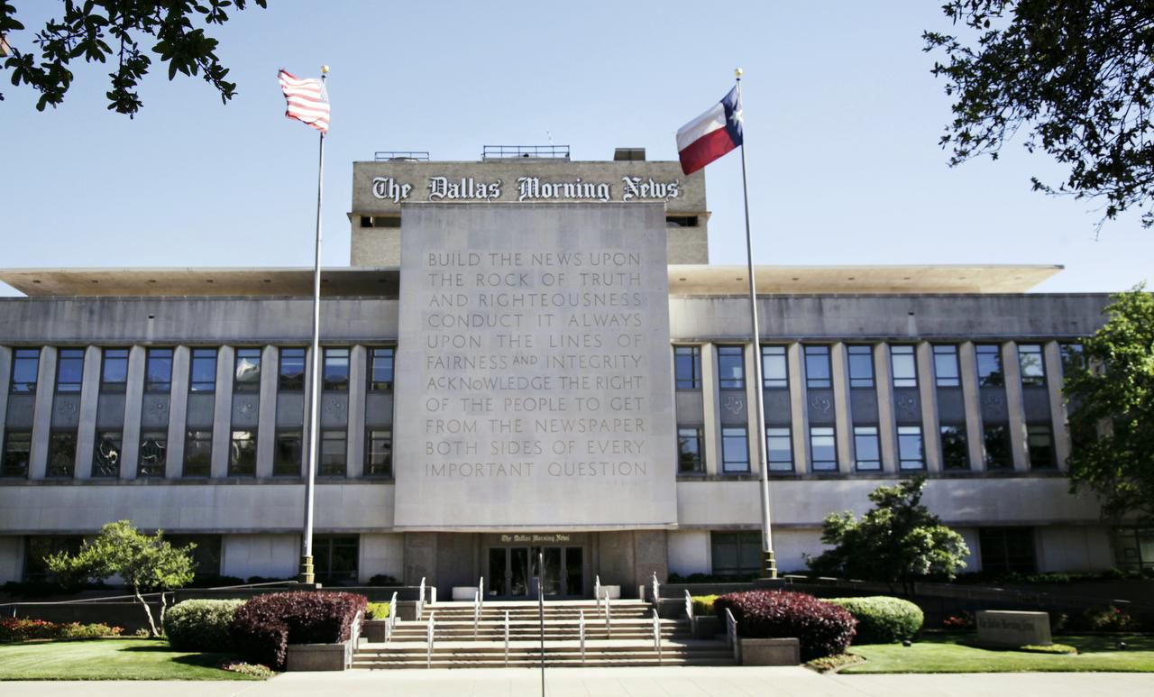 The Dallas Morning News building at Young and Houston streets was designed by George Dahl and has housed the newspaper since 1949.