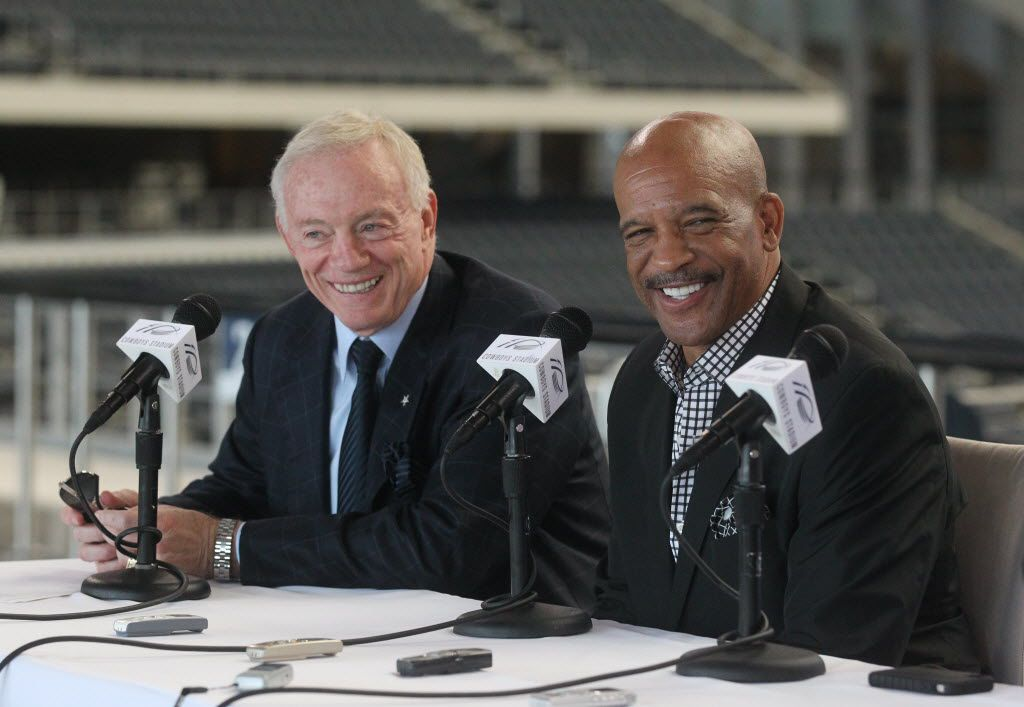 Dallas Cowboys owner Jerry Jones announces that Drew Pearson (picture) along with Charles Haley and Larry Allen (not pictured)  will be inducted into the Ring of Honor at a press conference at Cowboys Stadium in Arlington, Texas, on August 19, 2011. (Michael Ainsworth/The Dallas Morning News)